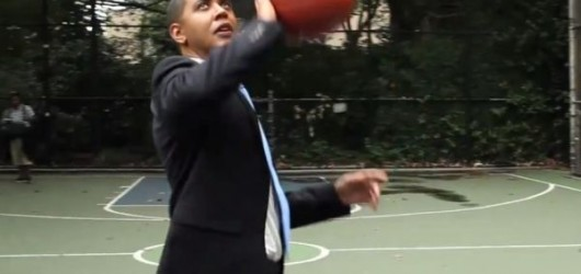 Barack Obama on the basketball court against Mitt Romney